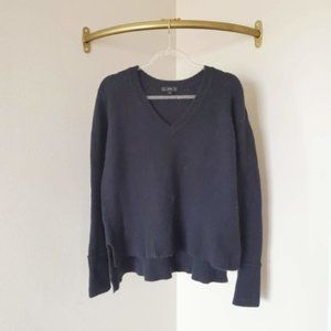 J.Crew Black Merino Wool V-Neck Sweater S